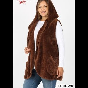 Jackets & Blazers - Plus Hooded Faux Fur Vest With Side Pockets Brown